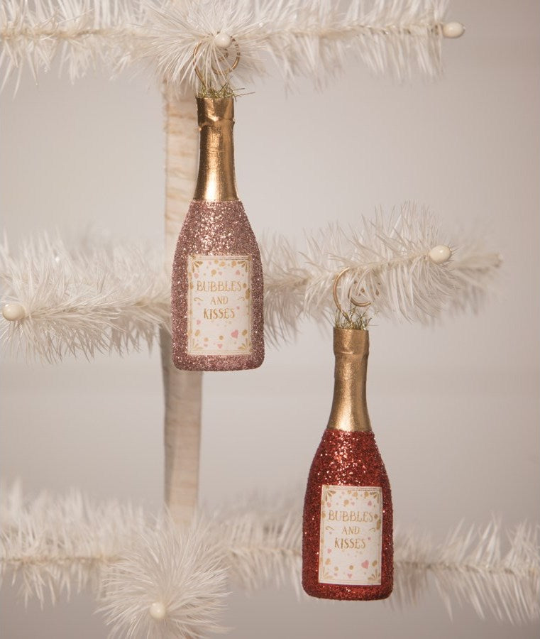 Bubble and Kisses Pink Champagne Ornaments