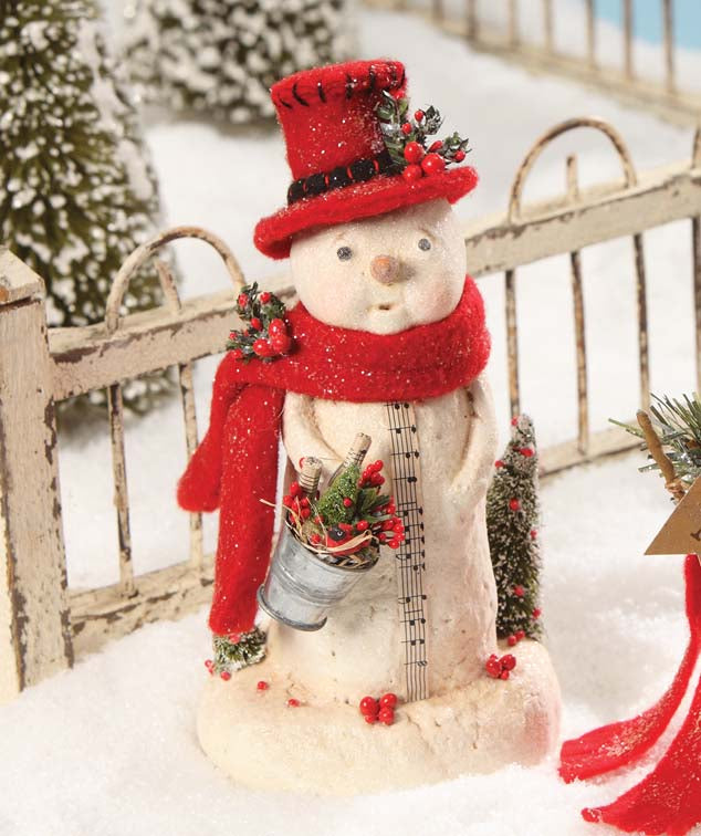 Bucket of Cheer Snowman with Red Scarf Hat & Bucket by Michelle Allen