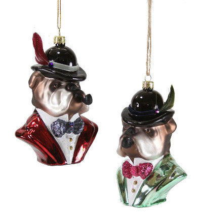 Bulldog Gent Ornaments with Bowler Hat & Pipe