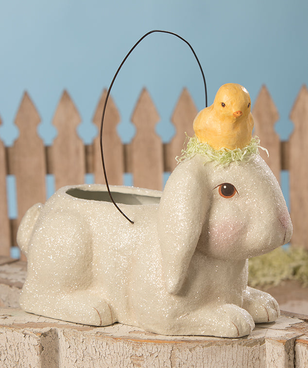 Bunny Bucket with Little Chick, Paper Mache
