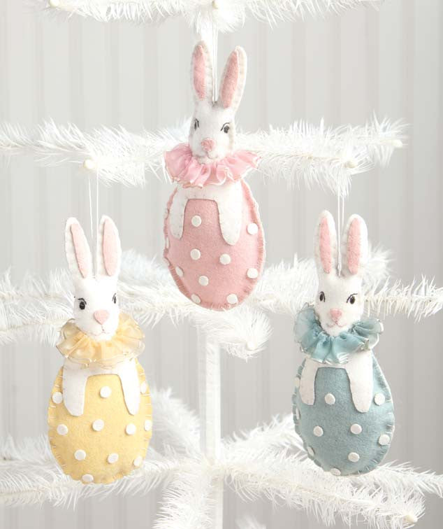 Bethany Lowe Bunny In Egg Wool Ornaments