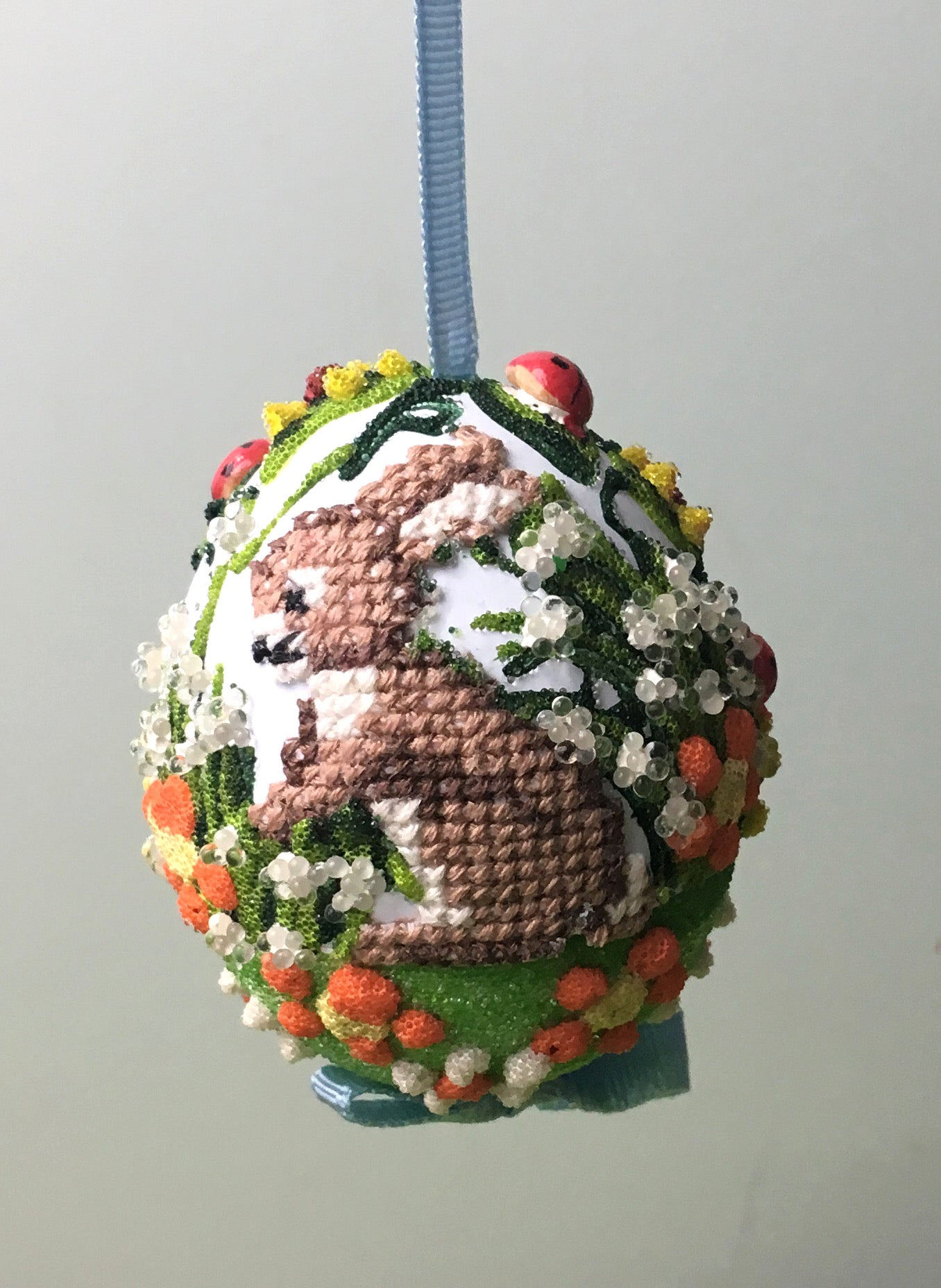 Needlepoint Bunny Egg Ornament, Blue