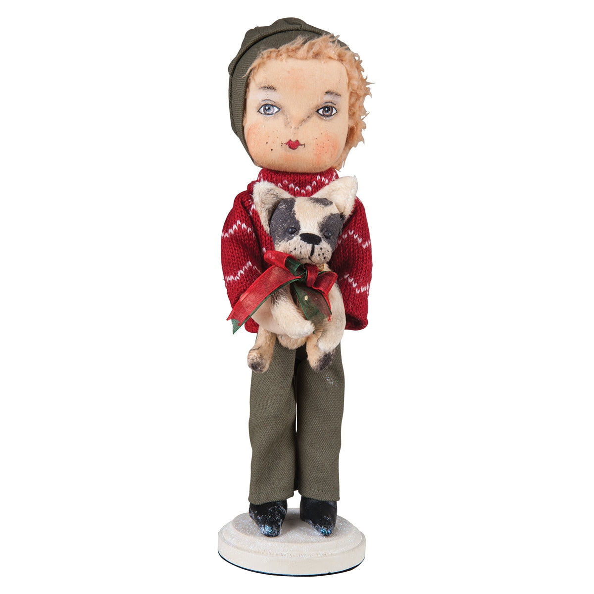 Caleb with Christmas Puppy Dog Standing Doll by Joe Spencer