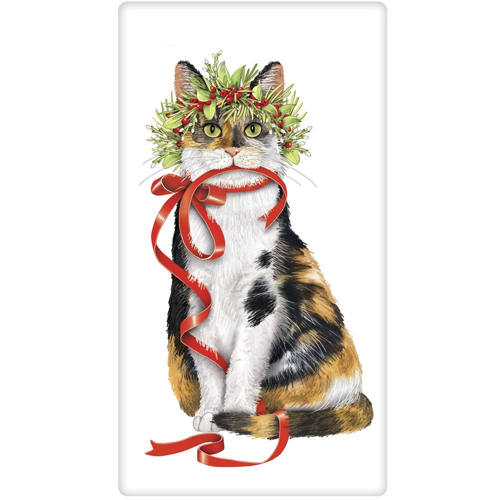 Calico Cat Dressed for the Holiday Flour Sack Towel