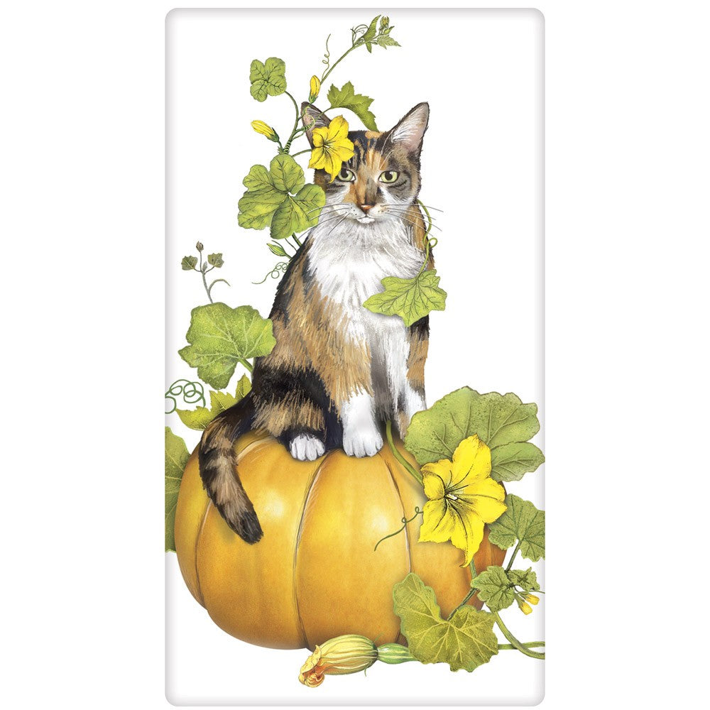 Calico Cat Pumpkin Stack Towel by Mary Lake Thompson