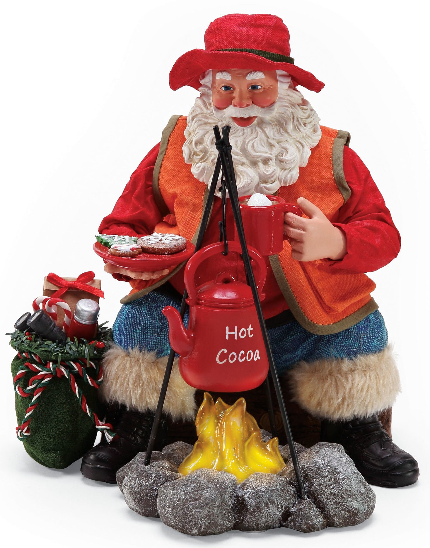 Camping Santa with Campfire, Hot Cocoa and Cookies