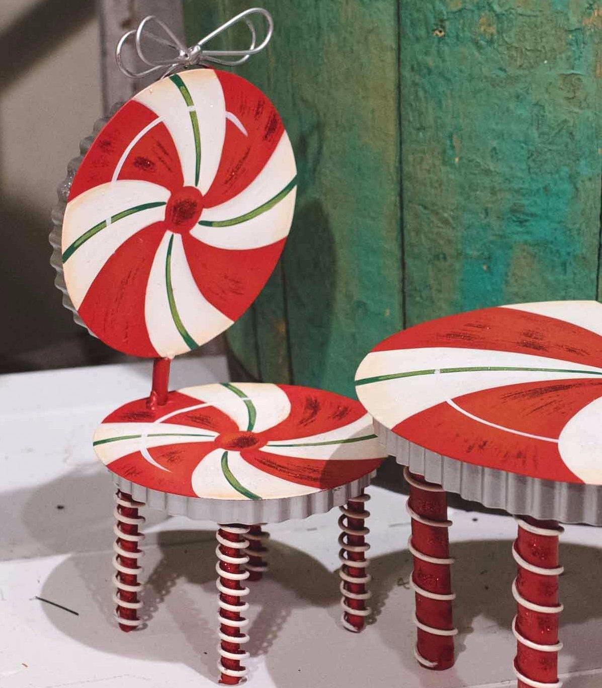 Candy Cane Doll Chair - Metal