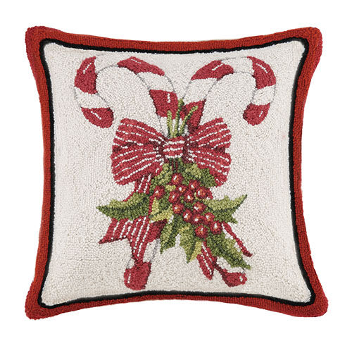 Candy Cane Hooked Christmas Pillow - Mary Lake-Thompson