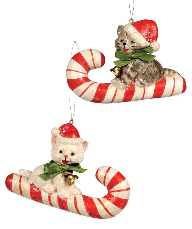 Candy Cane Kitty Ornaments - Cats & Kittens with Santa Hats