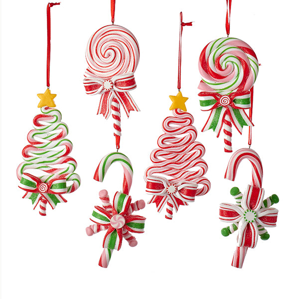 Candy Cane Treats Ornament Set - Christmas Tree & Lollipop