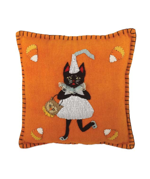 Candy Corn And Kisses Pillow - Wool Applique