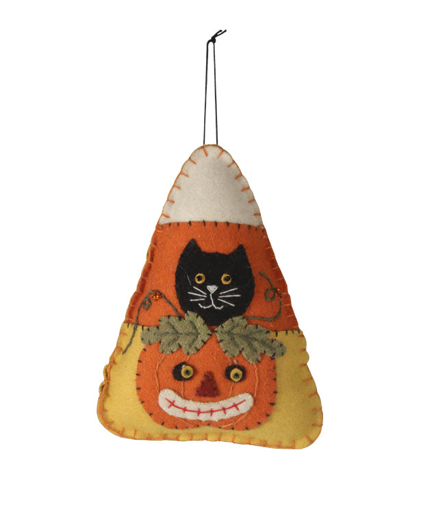 Candy Corn Kitty Applique Ornament