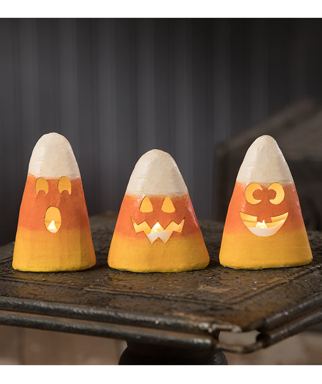 Candy Corn Luminaries with Faces