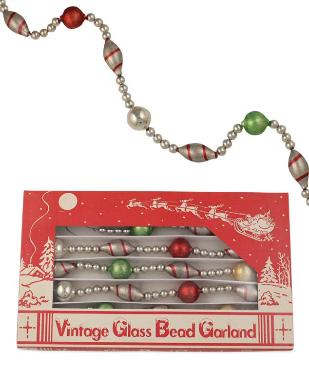 Candy Stripe Vintage Glass Bead Garland