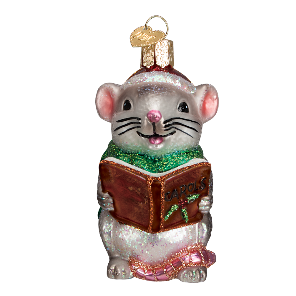 Glass Caroling Mouse Ornament - Gray