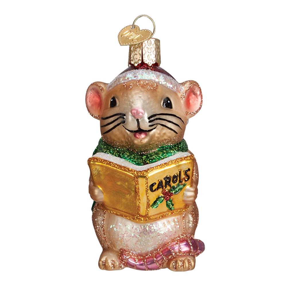 Caroling Mouse Ornament - Tan