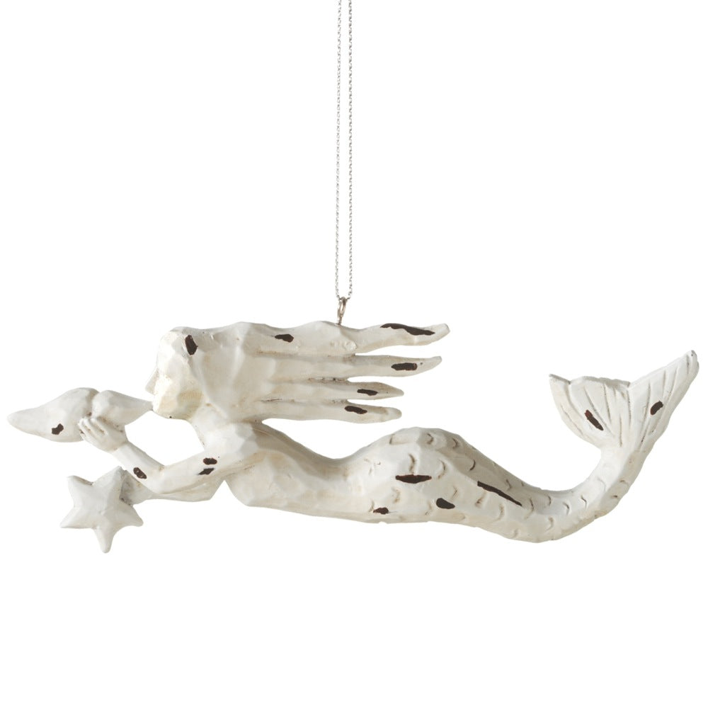Carved White Mermaid Ornament - Antiqued