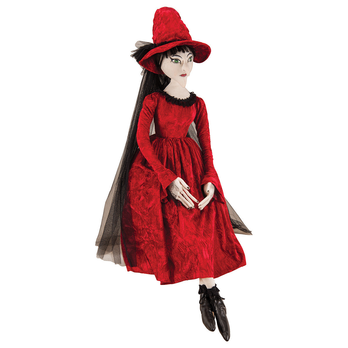 Joe Spencer Cassandra Witch in Red Dress - Cloth Halloween Doll