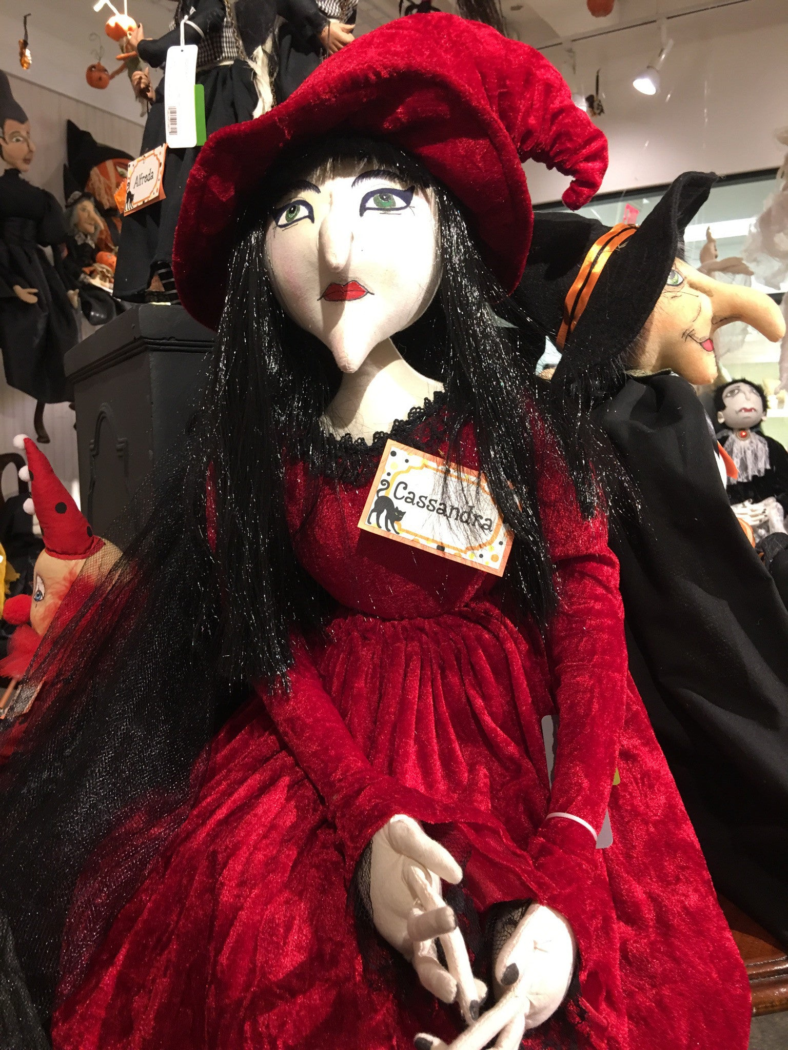 Cloth Halloween Dolls by Joe Spencer - Cassandra Witch in Red Dress