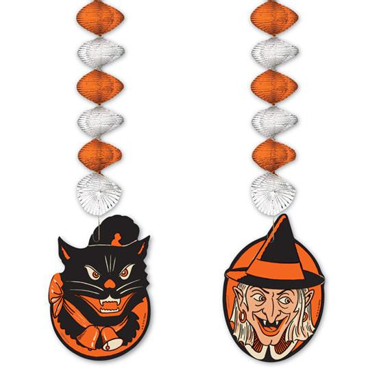 Cat & Witch Dangler - Vintage Halloween Theme Decorations