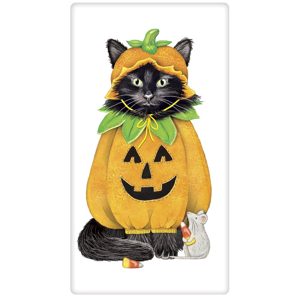 Cat in Halloween Pumpkin Costume Towel