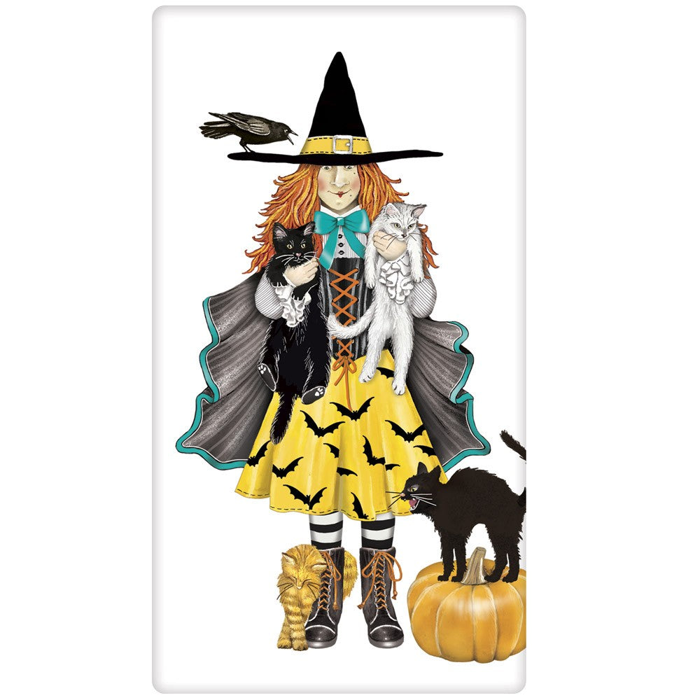 Cat Witch Towel - Halloween Towels by Mary Lake Thompson