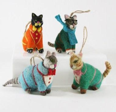 Cool Cat in Sweater Ornaments - Wool Felt Christmas