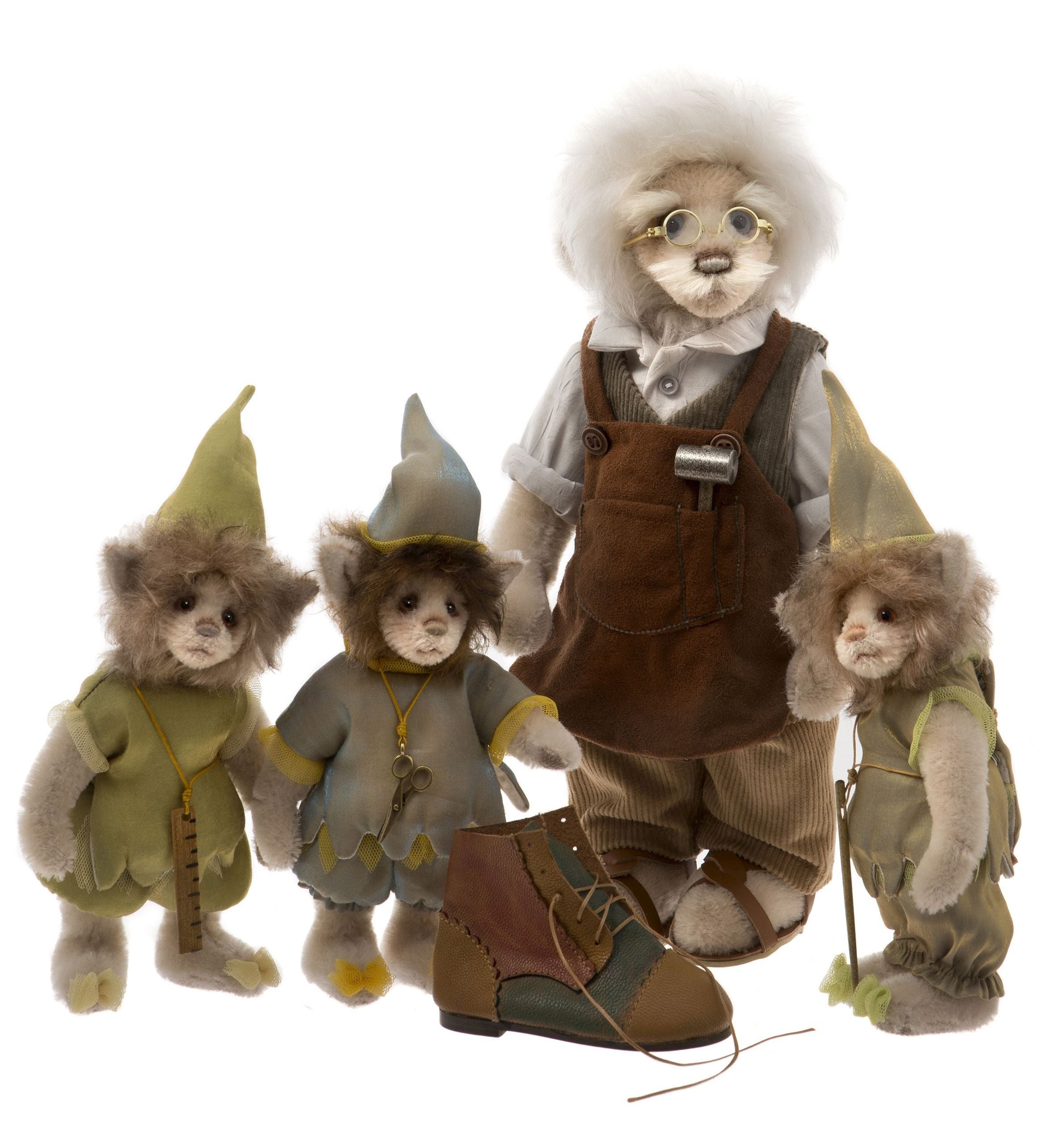 Charlie Bears Teddy Bear Elves and the Shoemaker Set