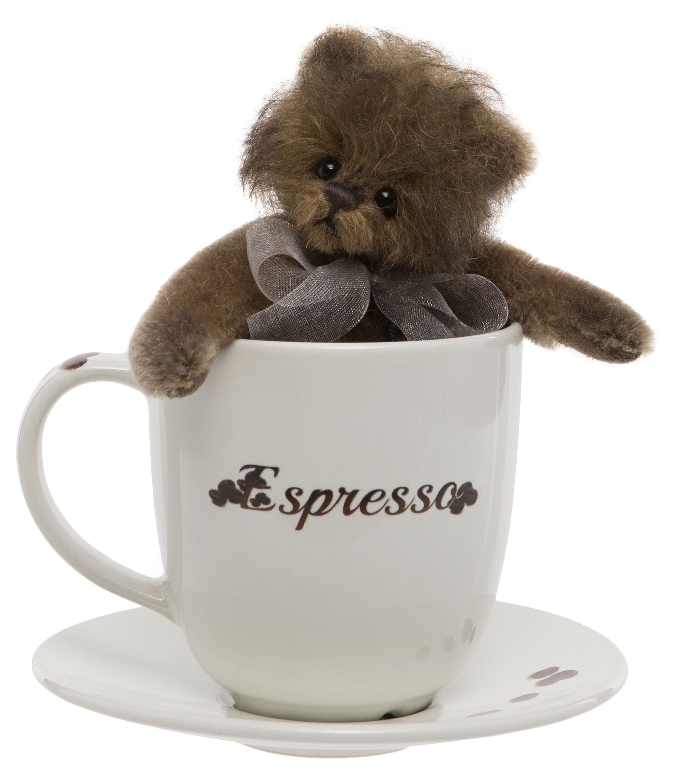 Charlie Bears Espresso Teddy Bear Cup and Saucer Gift Set