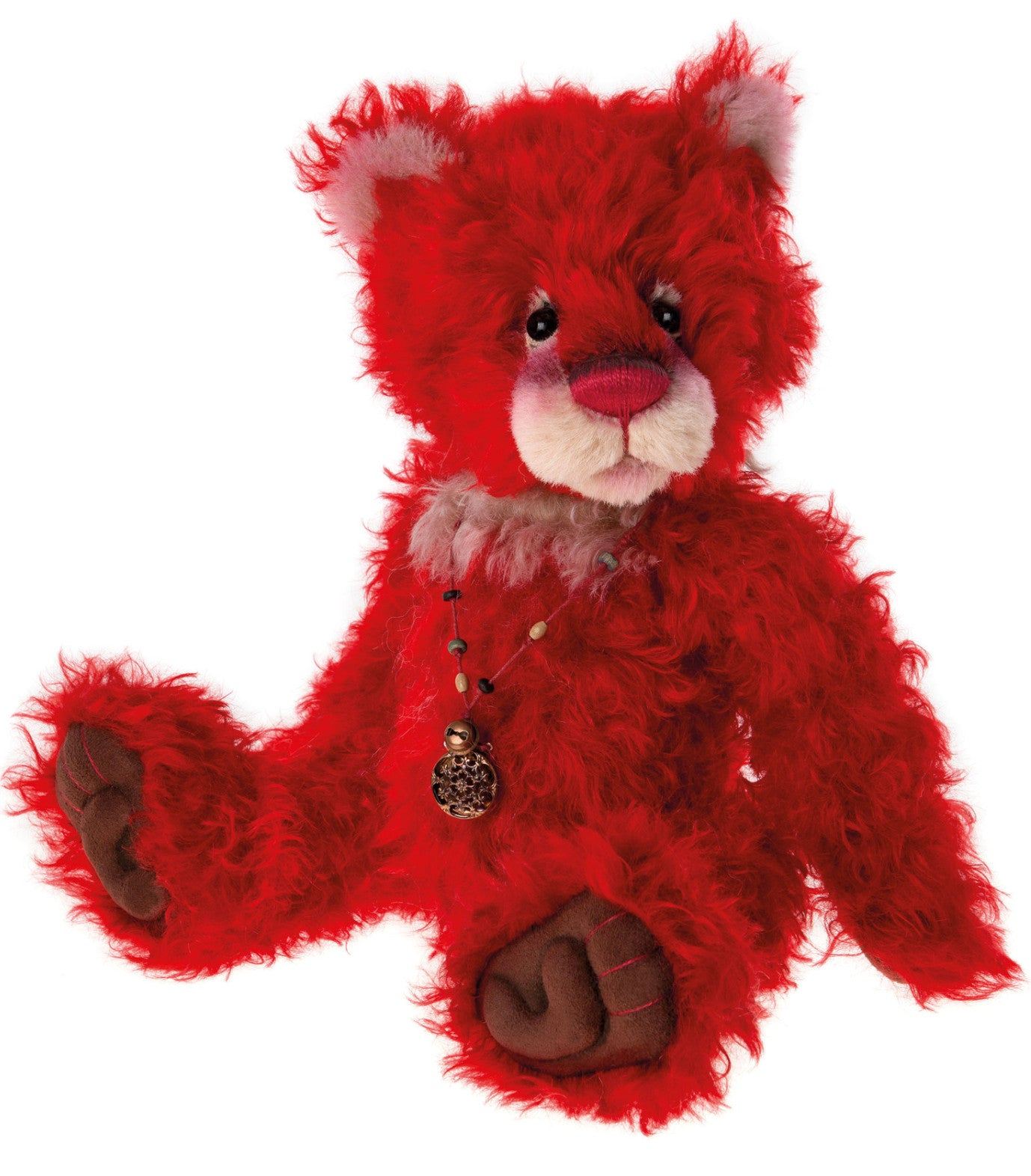 Charlie Bears Jackpot Red Mohair Teddy Bear
