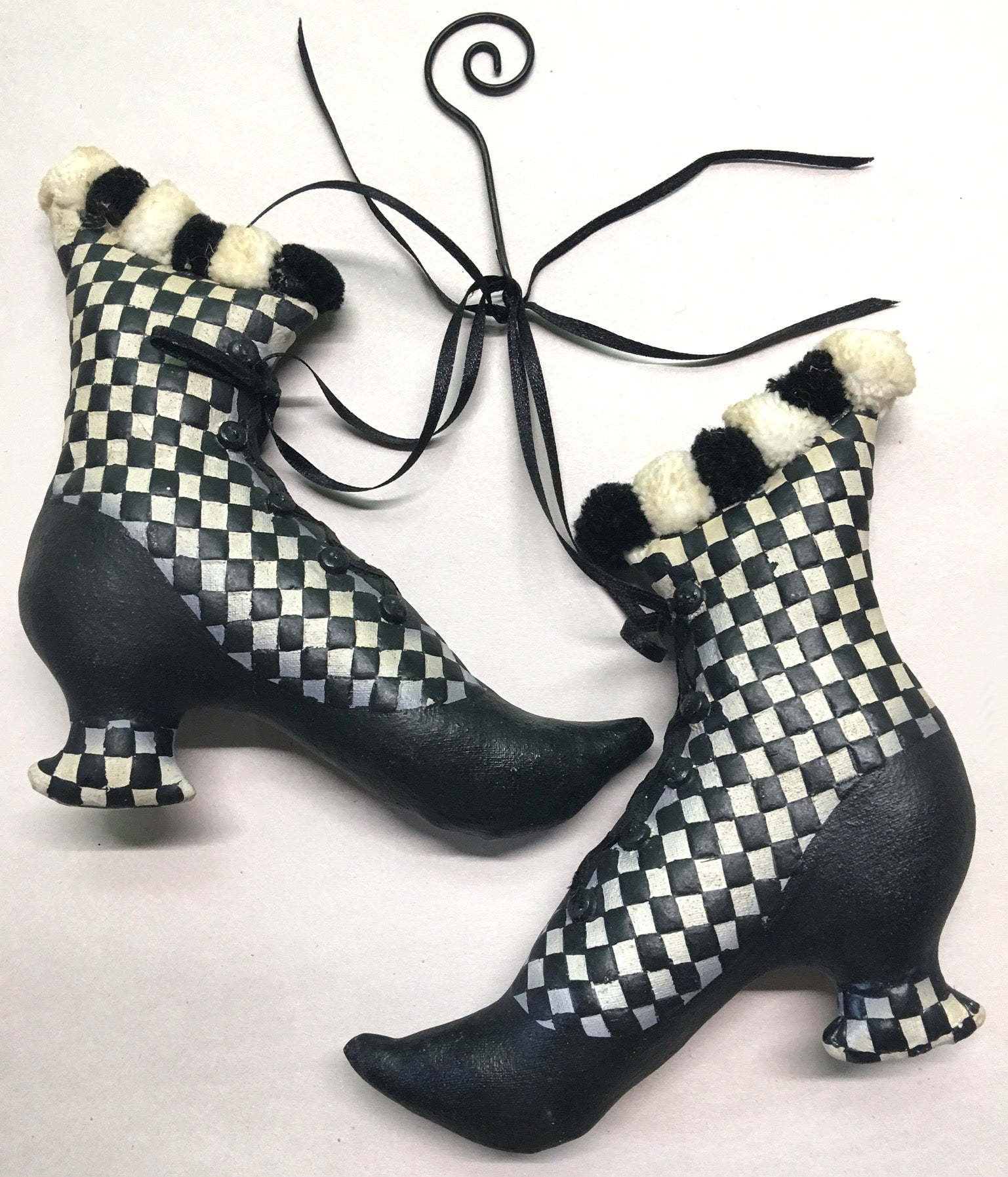 Checkered Witch Boots Ornament