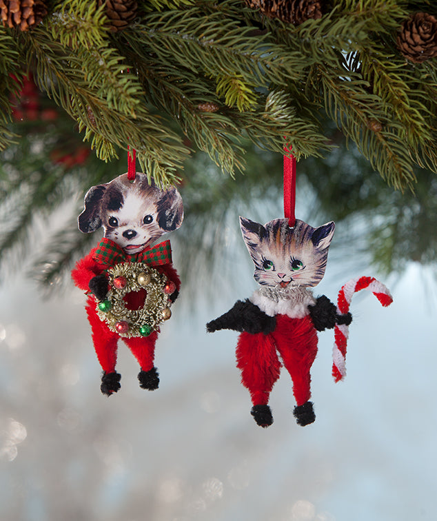Chenille Cat & Dog Ornaments