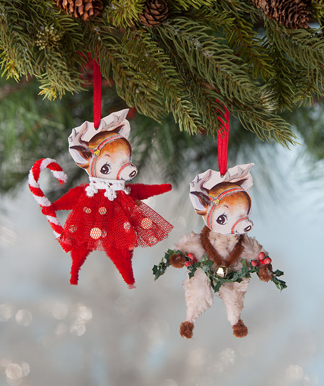 Chenille Reindeer Ornaments, Vintage Christmas