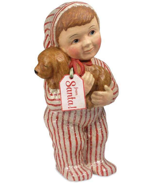Child with Puppy From Santa - Large Paper Mache Figure