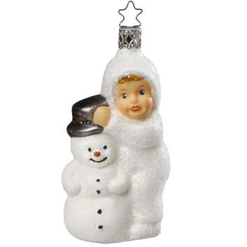 Kinder of Winter Fun - Child with Snowman Ornament