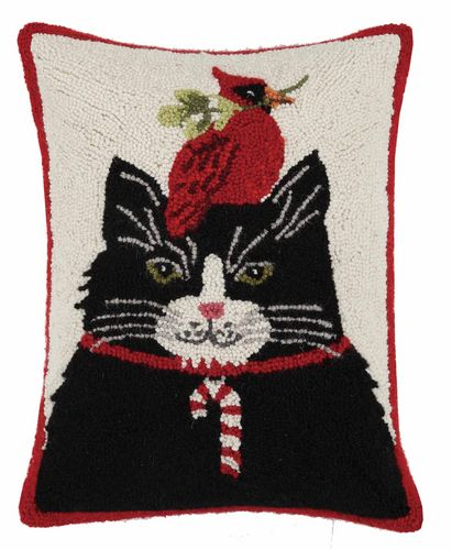 Christmas Cat with Cardinal Pillow