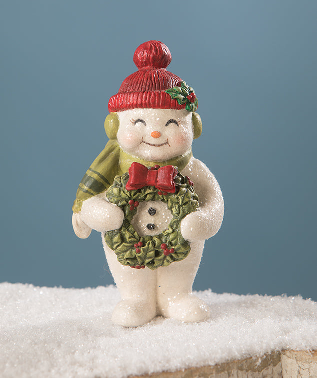 Christmas Cheer Snowman with Wreath Figurine