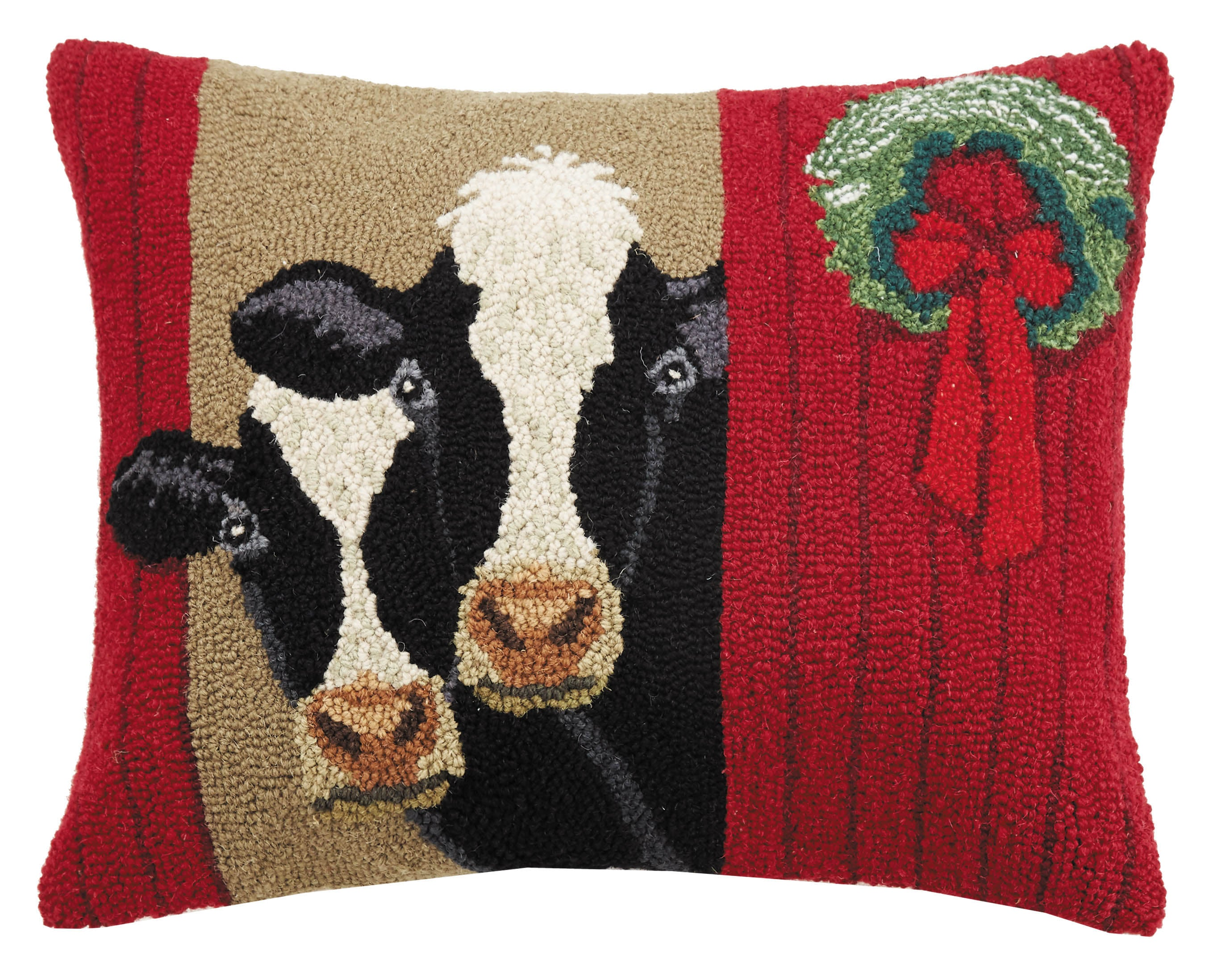 Christmas Cow Barn Hooked Pillow