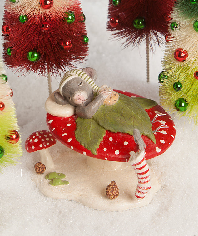 Christmas Eve Mouse Sleeping on Toadstool