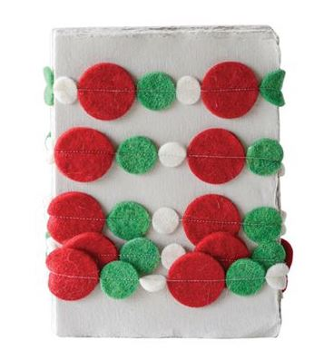 Christmas Circle Felt Garland with Red, Green and White Circles