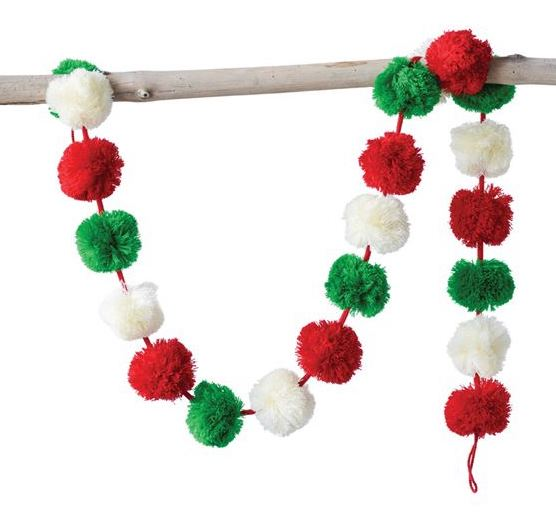 Christmas Pom Pom Garland with Red, Green and White Pom Poms