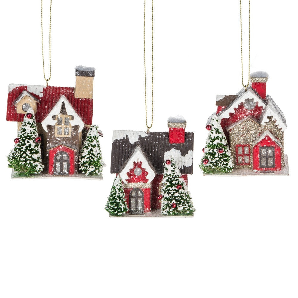 Christmas Putz House Ornaments with Led Lights