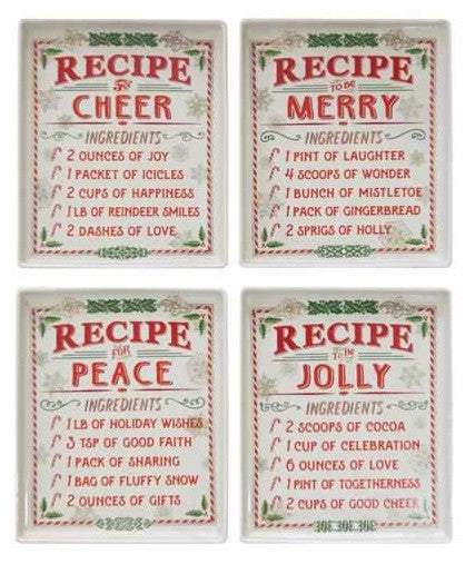 Christmas Recipe Plates for Cheer Merry Jolly & Peace