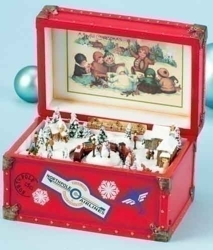 Christmas Surprise Trunk Music Box with Revolving Train. PLays We Wish You A Merry Christmas.