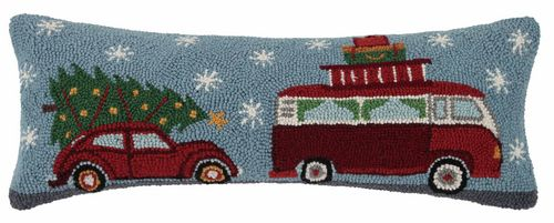 Christmas Travels Camper Van & Car with Tree Pillow