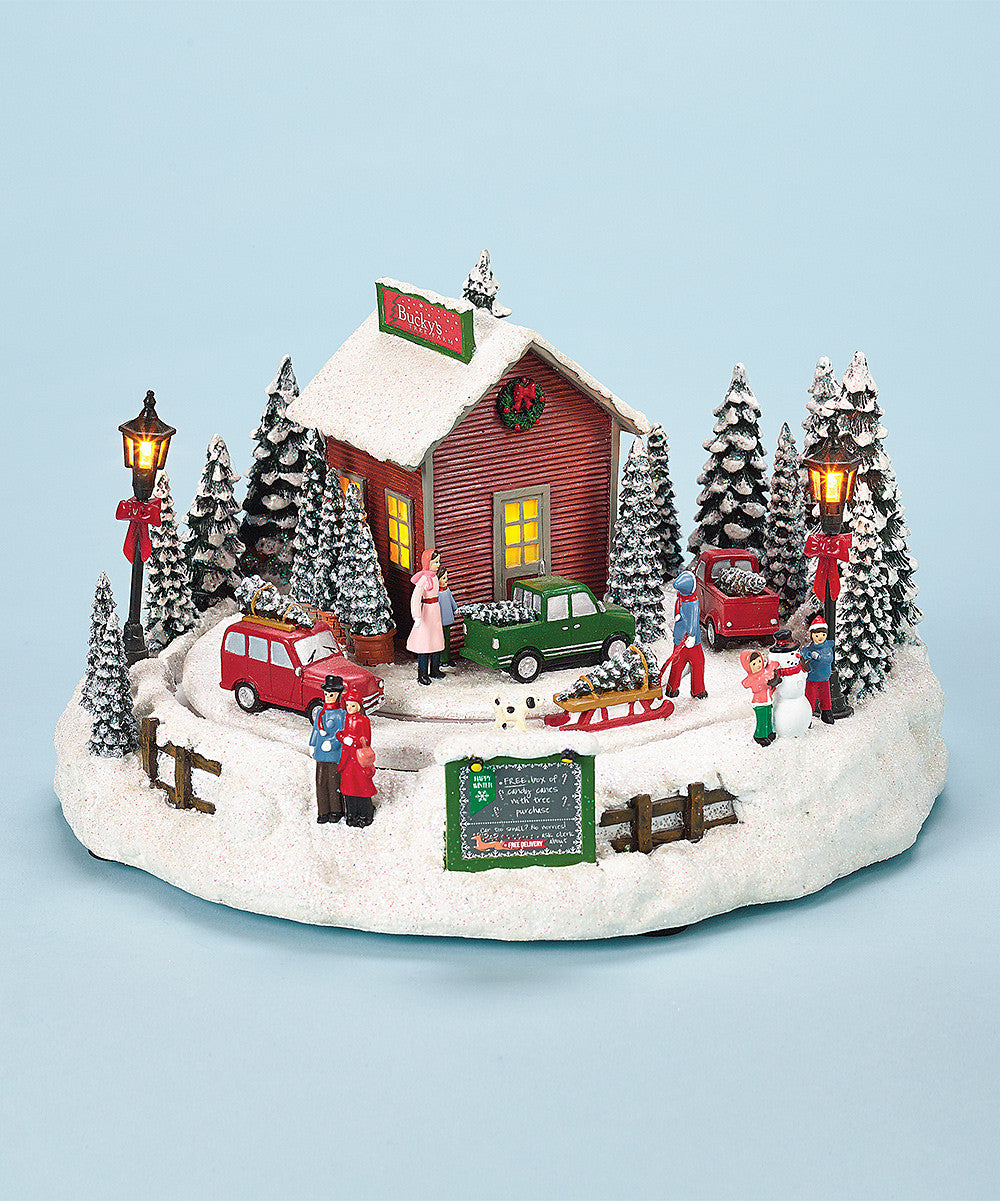 christmas tree farm rotating music box with lights