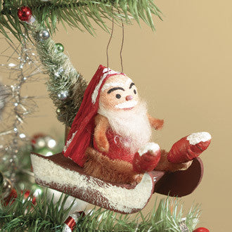 Christmas Gnome on Sled Ornament