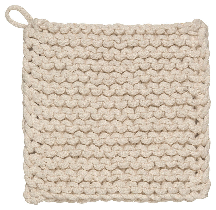 Chunky Knit Cotton Potholders, Natural