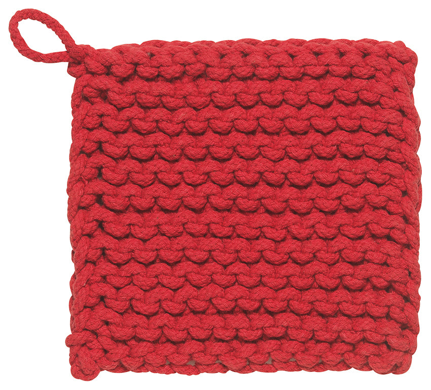 Chunky Knit Cotton Potholder, Red