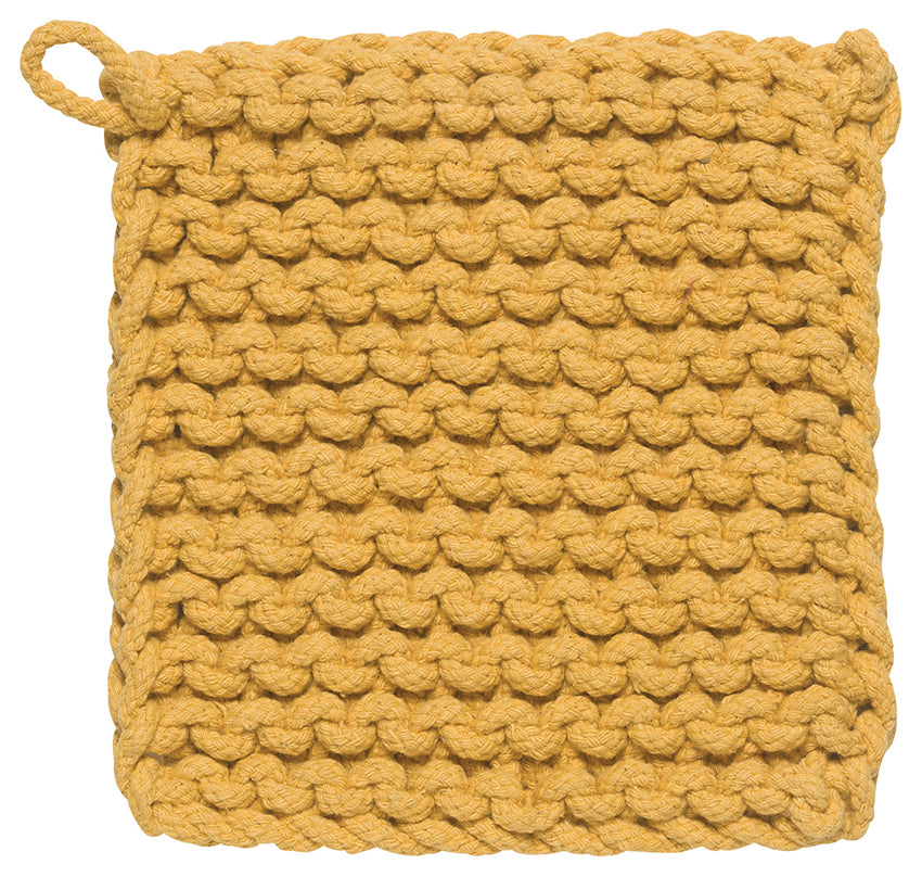 Chunky Knit Cotton Potholder, Honey Yellow